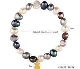Wholesale Gold Plated Natural Pearl Bracelet - Natural fresh water irregular Pearl bracelets Little Bear bangles bracelets with detail package many colors can choose