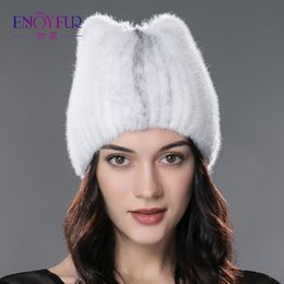 Wholesale Ladies Mink Hats - Winter fur hat for women real mink fur strip cap solid casual hats knitted beanies 2017 brand new fashion headgear for lady