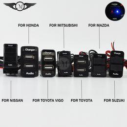 Wholesale Mazda Car Audio Usb - DC 12V Dual USB Car Charger with Audio Charging Fast Fit for Nissan Toyota Toyota Vigo Honda Mitsubishi Suzuki Mazda