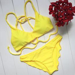 bikinis belles dames Promotion Promotionnel Crisscross Basse Taille Braid Belle Bikini Brésilien Style Européen Et Jaune Rouge Dur