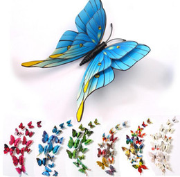 Wholesale Large Butterfly Wall Stickers - 3D Large Double Layer Magnet Butterfly For Kids Rooms Home Decor Vinyl Wall Fridge Christmas decoration stickers G657