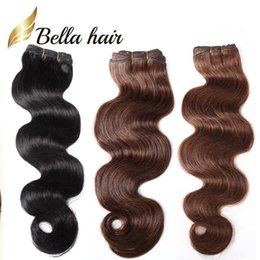 jet black human hair weft Coupons - Fashion Hair 14-24inch Brazilian Hair Jet Black Dark Brown 2pcs lot Human Hair Weft HairExtensions Grade 8A Free Shipping BellaHair