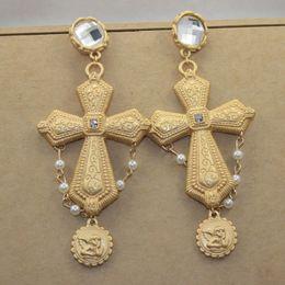 Wholesale Gold Earring Studs - Fashion Baroque style exaggeration Cross Earrings Retro Gemstone Stud Earrings Women's gold accessories