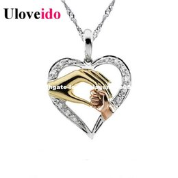 Wholesale Baby Jesus - Bijouterie Silver Hand for Mom and Baby Heart Pendants Pingente Necklaces & Pendants Jesus Pingentes Silver New 2017 Uloveido