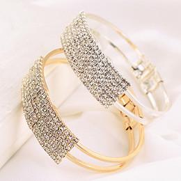 Wholesale Wholesale Women Bohemian White Dress - Hot Silver Gold Stretch Opening Bracelet Fashion Multi - Row Diamond Bracelet Women Party Dress Jewelry Valentine'S Day Gifts