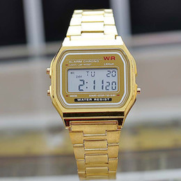 Wholesale Glass Table Watch - 2016 Hot Fashion metal watchband LED electronic table watch Gold digital luminous watches