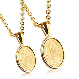 Wholesale stainless medal - 2Pcs Mens Womens Guadalupe Medal Catholic Stainless Steel Oval Pendant Necklace High Polish