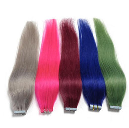Wholesale Wholesale Remy Packs - 2017 fashionable and bestselling Skin WeftTape Adhesive Remy Hair extension 18~24 Inches 50g=20pcs pack Brazilian Virgin Tape hair extension