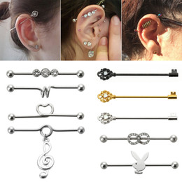 Wholesale Ear Piercing Black Studs - 1PC Fashion Puncture Jewelry Surgical Steel Industrial Ear Barbell Cartilage Piercing Jewelry Industrial Barbell 14G 38mm Ring Piercing
