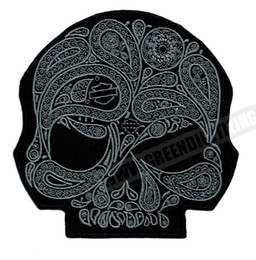 patch diy cloth Coupons - Cool Skull Flower Silver Motorcycle Patches For Vest Jacket Embroidery Punk Biker Patch DIY Cloth Patch Applique Badge Free Shipping