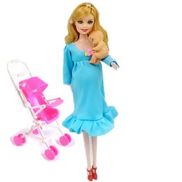 Wholesale Pregnant Tummy Month - MOM+Baby+Stroller Toy Pregnant Doll Mini Baby In Belly Baby Alive Reborn Winx Doll In Her Tummy Real Happy Family Barbies C0A706