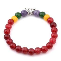 Wholesale Clasps Tibetan - Red Garnet Stone Tibetan Silver Plated Fox Beads Gem Stone Bracelets Women 7 Reiki Chakra Healing Balance Beads Bracelet 6