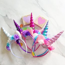 Wholesale Lace Accessories Wholesale - 2017 New Baby Party Headbands Unicorn Gauze Flower Hair Band Girl Animals Hair Sticks Birthday Girls Cosplay Hair Accessories A7271