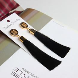 Wholesale Wholesale Tassel Charms - 2017 National Wind Stud Earrings Bohemian Long Model Tassels High Grade Earring Dainty Solid Color Jewelry For Girls Women Cross Earrings