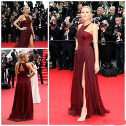af4c0cba5 Burgundy Chiffon Blake Lively Red Carpet Evening Dresses 2018 Halter Sexy  Thigh-Side Split Custom Made Bridal Party Gown Celebrity Wear