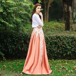 Wholesale long floral skirts for women - Applique Long Formal Satin Skirt For Women Exquisite Invisible Vintage Maxi Skirts Custom Made 100% Real Image Floor Length Fashion Skirt