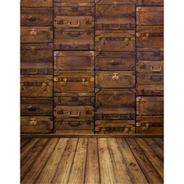 Wholesale Suitcase Painting - Vintage Photography Backdrops Brown Suitcase Wall Wood Floor Newborn Baby Child Birthday Photo Booth Prop Studio Backgrounds Fotografia