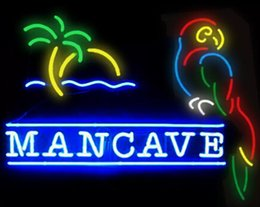 Wholesale Beer Neon Bar Signs - New Man Cave Parrot Glass Neon Sign Light Beer Bar Pub Arts Crafts Gifts Lighting Size 22""