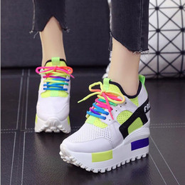 Wholesale Super High Platform Wedges - 2017 Spring Summer New Women's Increased Waterproof Platform Shoes 10cm Super High-heeled Mixed Color Wedge Shoes Pumps Lady