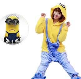Wholesale Conjoined Cartoon Pajamas - Flannel pajamas cute cosplay little yellow people animated cartoon conjoined pajamas couples home leisure party (with shoes)