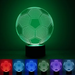 Wholesale Wholesale Football Lamps - 3D Football LED 1.5W Ccreative Night Light 7 Color Changing Table Lamp Nights of Champions League For Valentines Day 30rm