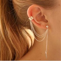 Wholesale Ear Cuff Tassel Gold - Earrings Jewelry Fashion Gold Silver Plated DHL Alloy Leaf Tassel Earrings Jewelry Elegant Personality Ear Cuff for Women
