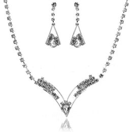 Wholesale Necklace Sets Fashion Jewelry - Fashion Bridal Rhinestone Crystal Drop Necklace Earring Plated Jewelry Set Wedding Cheap Free Shipping