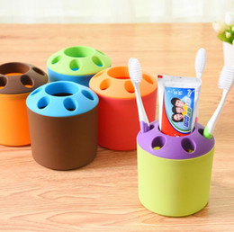 Wholesale Couple Toothbrush Holder - Special porous couple creative toothbrush holder toothpaste mouthwash multi-function desktop pen holder rack free 6 colors shipping