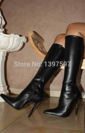 Wholesale Designer Summer Boots - Wholesale-New 12cm Extreme high heels women pointed toe SEXY black matte PU leather knee high motorcycle boots,designer shoes for women