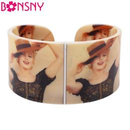Wholesale Marilyn Monroe Accessories - Bonsny Acrylic Marilyn Monroe Pattern Love Wide Bracelets Bangles Fashion Jewelry For Women New 2017 Summer Spring Accessories