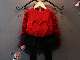 Wholesale Children Pink Skirt Pants - Christmas Girls knit sweater children stereo pompons love heart princess pullover kids crown tulle skirt pants Valentine's day clothes R1268