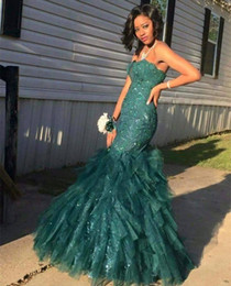 Wholesale Strapless Sparkly Prom Dresses - Hunter Green Strapless Mermaid Prom Dresses 2017 Sparkly Lace Sequins Tulle Evening Dresses Floor Length Black Girl Wear Formal Party Gowns