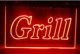 Wholesale Red Led Grill Lights - Grill OPEN Bar Pub BBQ NEW NR club 3d signs led neon light sign