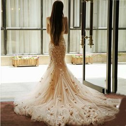 Wholesale Flowers Pastel - Delicate 3D-Floral Appliques Lace Pink Mermaid Wedding Dress Sweetheart Neck Tulle Formal Dresses Sweep Train Hand Made Flowers Bridal Gowns