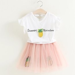 Wholesale Summer Baby Skirt Top - New Arrival Girls Pineapple Dress Sets Top T-shirt+Pettiskirt Children Tutu Lace Short Skirt Suits Summer Kids Baby HH-S01