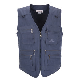 Wholesale Casual Loose Mens Vest - Wholesale- 2017 Mens Pockets Jacket Causal Travels Vest Tops Multi-pockets vest casual waistcoat photography vest