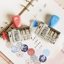 Wholesale Diy Handmade Photo Album - Wholesale- 1x Free shipping Kids Cute date English letters roller Stamps sets for DIY Handmade Scrapbook Photo Album, students Stamps