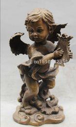"Wholesale Block Piano - 12 ""de Bon Augure Chinois Feng Shui Bronze ange Garçon garçon PULL Piano Statue Sculpture"