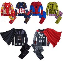 Wholesale Cosplay Spiderman Costume - Boys Childrens Clothing Sets Cotton Cartoon tshirts Pants 2pcs Set Spiderman Iron Man Boy Kids Boutique Clothes Cosplay Costumes Outfits