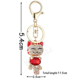Wholesale Smiling Cat Pendant - Lucky Smile Cat Crystal Rhinestone Keyrings Key Chains Holder Purse Bag Cars Gift Keychains Jewelry Charm Ornaments Pendant Accessories