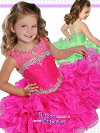 Wholesale Lime Green Organza Girls Dress - Ruffled Pageant Dresses for Little Girls 2017 by Ritzee Cupcake B845 Beautiful Lime Toddler Pageant Dress with Sheer Crew Neck and Beads