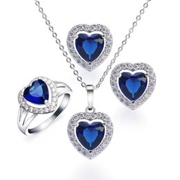 Wholesale Blue Ocean Heart Necklace - Wedding Jewelry Set Heart Blue Sapphire Necklace Earrings Ring Size 7 Sterling Silver Ocean Genuine Charms Gifts BTZ000012