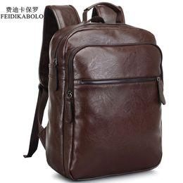 Wholesale Vintage Bookings - 2017 Men Leather Backpack High Quality Youth Travel Rucksack School Book Bag Male Laptop Business bagpack mochila Shoulder Bag
