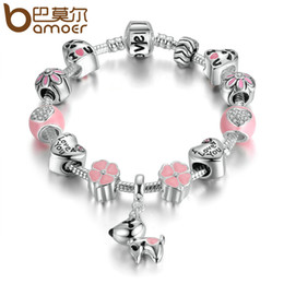 Wholesale Dog Color Slide Charm - Pandora Style 2017 New Arrival Silver Color Lovely Dog Pink Heart Flower Charms Bracelets For Women Fashion DIY Jewelry PA1501