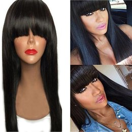Wholesale Bobs Styles - Hot selling bob short wig simulation Human Hair Wigs silky straight short bob style wigs with bang natural color for black women