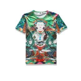 Wholesale Green Black Background - 2017 sping new summer wear high quality cotton plend novelty tees 3d print green background female Buddhist mens tee unisex o-neck t-shirts