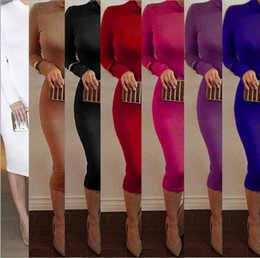 Wholesale Turtle Neck Dress Pink - 9Color New Autumn Women Dress Winter Turtleneck Dresses Slim Sexy Long Sleeve Midi Dress Wear To Nightclub Bandage Dresses Top Quality