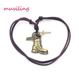 Wholesale Boots Charms Pendants - Pendant Necklace Leather Necklace Pendant Mens Jewelry Boots Accessories Metal Pendulum Amulet Hip Hop Pendant Decorations Gifts
