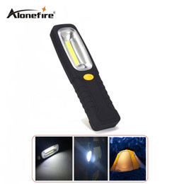Wholesale Super Bright Led Light Battery - AloneFire C022 Super Bright LED Flashlight Torch Work Stand Light With Magnetic+Hook Powered By AAA Battery For Outdoor Sports