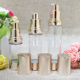 Wholesale cosmetic airless pump gold - 20ml 30ml 40ml Gold Airless Bottle Vacuum Pump Lotion Cosmetic Container Used For Travel Refillable Bottles 10pcs lot